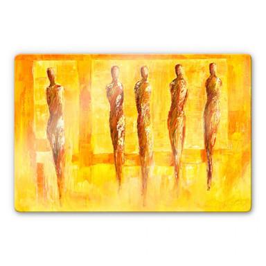 Glasbild Schüssler - Fünf Figuren in Gelb