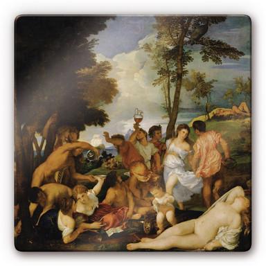 Glasbild Tizian - Das Bacchanal