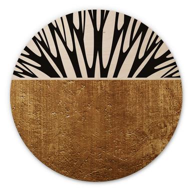 Holzbild Kubistika - Baum des Lebens - Gold - Rund