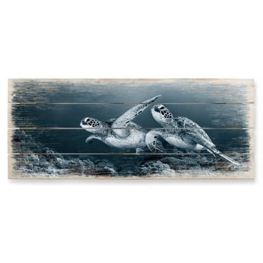 Holzbild Narchuk - Zwei Schildkröten auf Reisen - Panorama