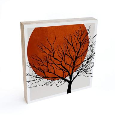 Holzbild zum Hinstellen - Kubistika - Warmer Sonnenuntergang - 15x15cm