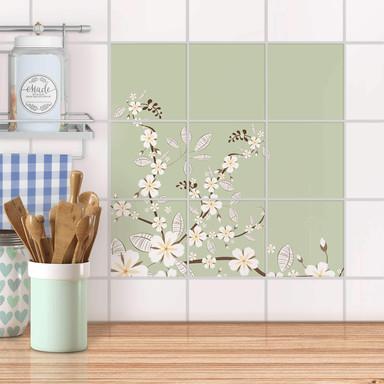Klebefliesen - White Blossoms - 9er Set
