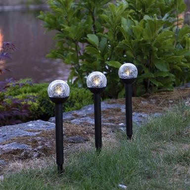 LED Solarleuchte Roma in Schwarz mit klarem Glas 3er-Set