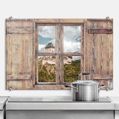 Spritzschutz 3D Holzfenster - Burg Karlstein