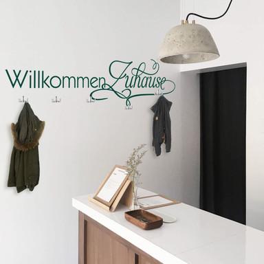 Wandtattoo Willkommen Zuhause + 5 Haken