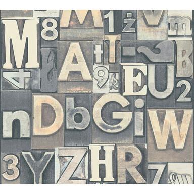 A.S. Création Vliestapete il Decoro Tapete Buchstaben Puzzle braun, creme, grau