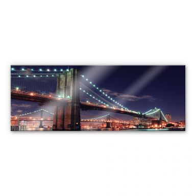 Acrylglasbild Manhattan Bridge at Night 2 - Panorama
