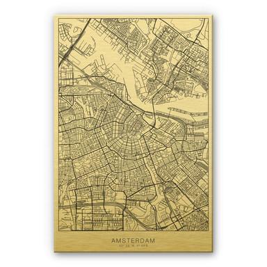 Alu-Dibond-Goldeffekt Stadtplan Amsterdam
