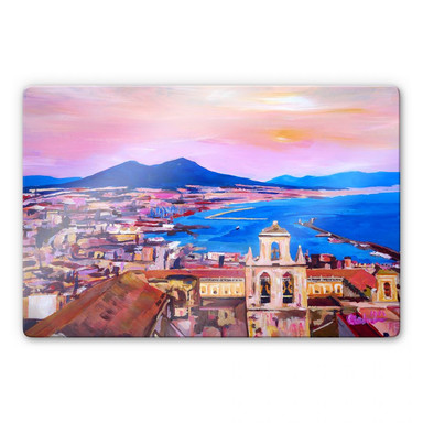 Glasbild Bleichner - Naples with Mount Vesuvio