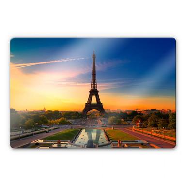 Glasbild Eiffelturm im Sonnenuntergang