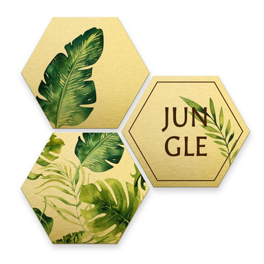 Hexagon - Alu-Dibond-Goldeffekt - Kvilis - Jungle (3er Set)