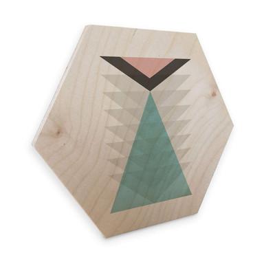 Hexagon - Holz Birke-Furnier Nouveauprints - Totem aqua & pink