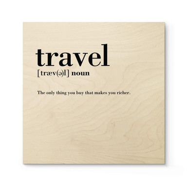 Holzposter Grammatik - Travel - Quadratisch
