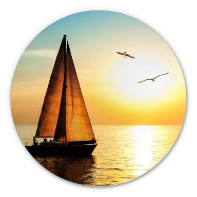 Alu-Dibond Segelboot im Sonnenuntergang - Rund