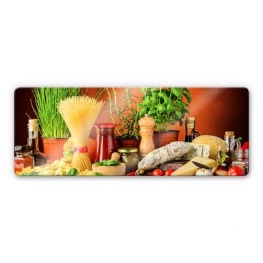 Glasbild Italienisch Kochen - Panorama