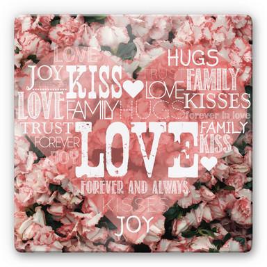 Glasbild Liebesherz im Blumenmeer - quadratisch