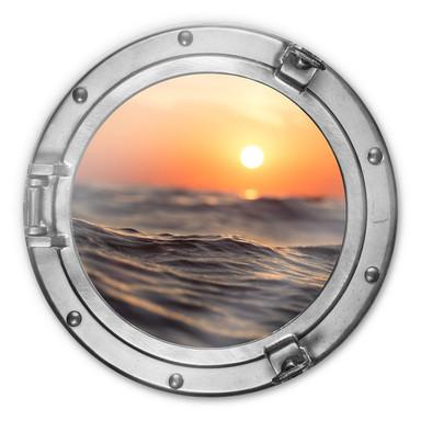 Glasbild rund 3D-Optik Bullauge - Sonnenuntergang auf dem Meer