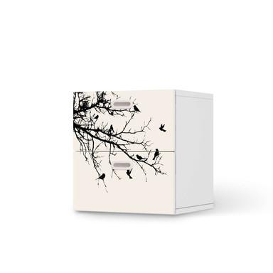 Klebefolie IKEA Stuva / Fritids Kommode - 2 Schubladen - Tree and Birds 1- Bild 1