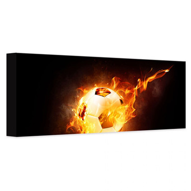 Leinwandbild Fussball in Flammen - Panorama