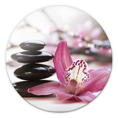 Glasbild Orchidee - rund