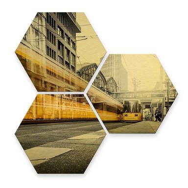 Hexagon - Alu-Dibond-Goldeffekt - Berlin Friedrichstrasse 02 (3er Set)