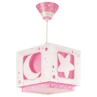 Kinderzimmer Pendelleuchte Moonlight in Rosa fluoreszierend E27