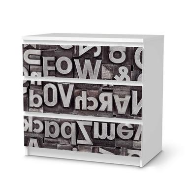 Klebefolie IKEA Malm Kommode 3 Schubladen - Alphabet