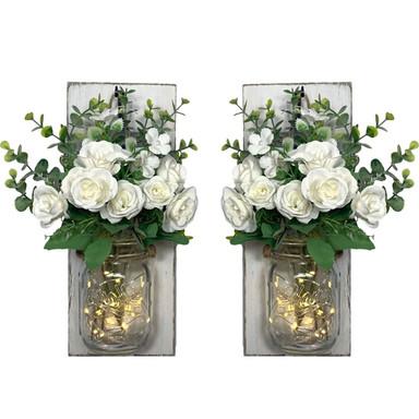 LED Wandleuchte Blumen im Glas mit Lichterkette - Bild 1