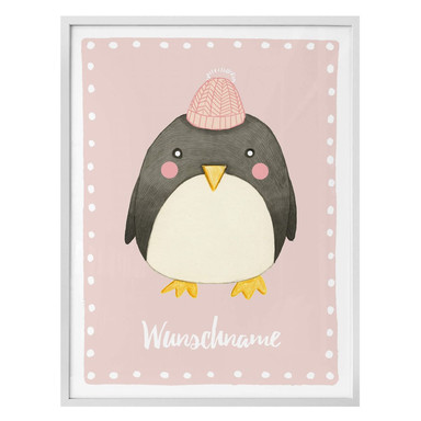 Poster Loske - Pinguin - rosa & Wunschtext