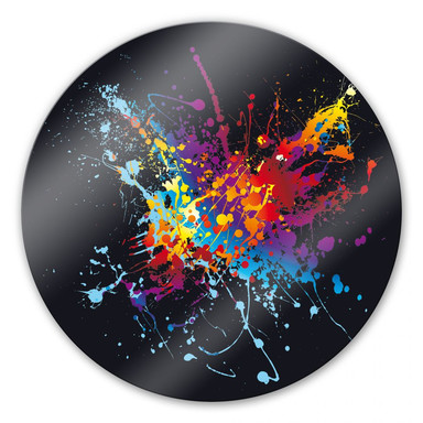 Glasbild Farbenexplosion rund