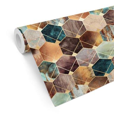 Mustertapete Fredriksson - Hexagone: Gold und Kupfer