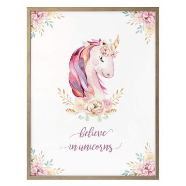 Poster Kvilis - Believe in Unicorns - Einhorn mit Blumen