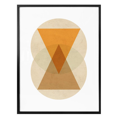 Poster Nouveauprints - Circles and triangles orange and brown