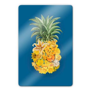 Glasbild Feldmann - Pineapple Blue Floral
