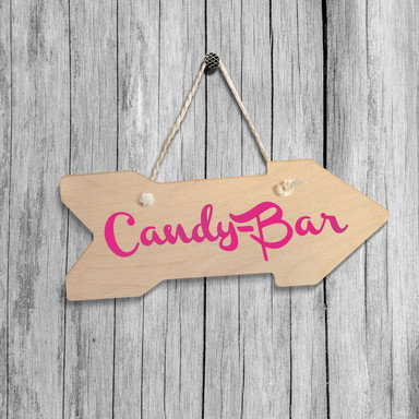 Holz-Wegweiser - Candy-Bar inkl. Sisalseil