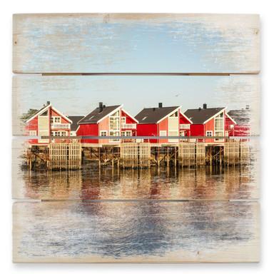 Holzbild Ferienhäuser am Meer