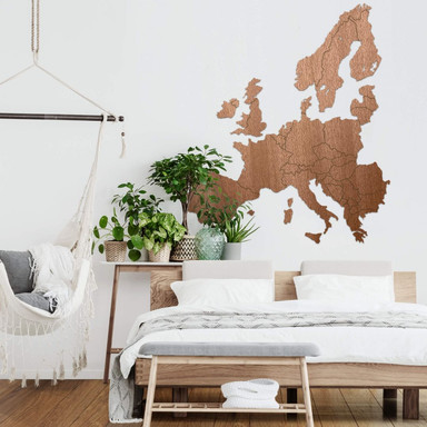 Holzkunst Mahagoni Furnier - Karte Europa
