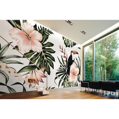 Livingwalls Fototapete Designwalls Toucan Blumen