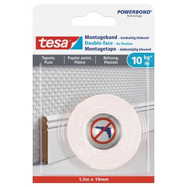 tesa® Montageband für Tapeten und Putz (10kg/m) 1.5 m x 19 mm