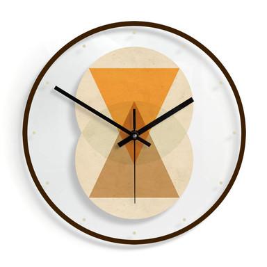 Wanduhr aus Glas - Nouveauprints - Circles and triangles orange and brown Ø30cm - Bild 1