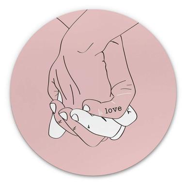 Alu-Dibond Kubistika - Hand in Hand - Rund