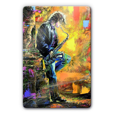 Glasbild Guy playing a Saxophone