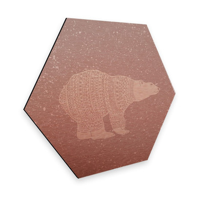 Hexagon - Alu-Dibond-Kupfereffekt Polarbär Weiss