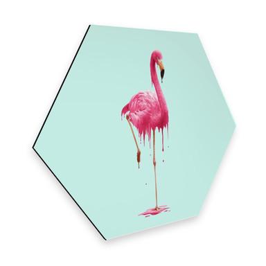 Hexagon - Alu-Dibond Loose - Melting Flamingo