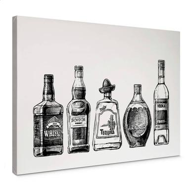 Leinwandbild 5 Flaschen voll Spass