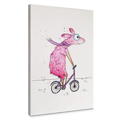 Leinwandbild Hagenmeyer - Lama mit dem Fahrrad