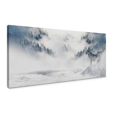 Leinwandbild - Wölfe im Schnee - Panorama