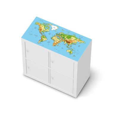 Möbelfolie IKEA Expedit Regal oben - Geografische Weltkarte