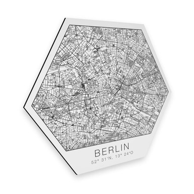 Hexagon - Alu-Dibond - Stadtplan Berlin