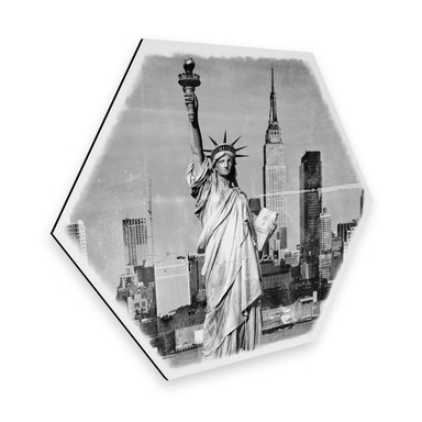 Hexagon - Alu-Dibond - Statue of Liberty - Shabby